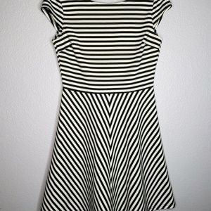 Stitch Fix Pixley Black White Stripe Fit & Flare M
